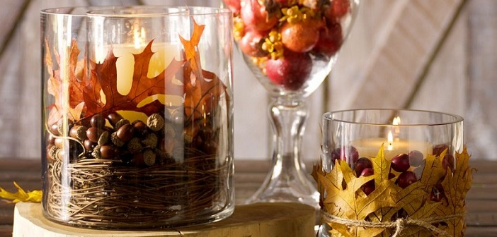 Herfstdecoratie versieren met spulletjes uit het bos for Herfst decoratie