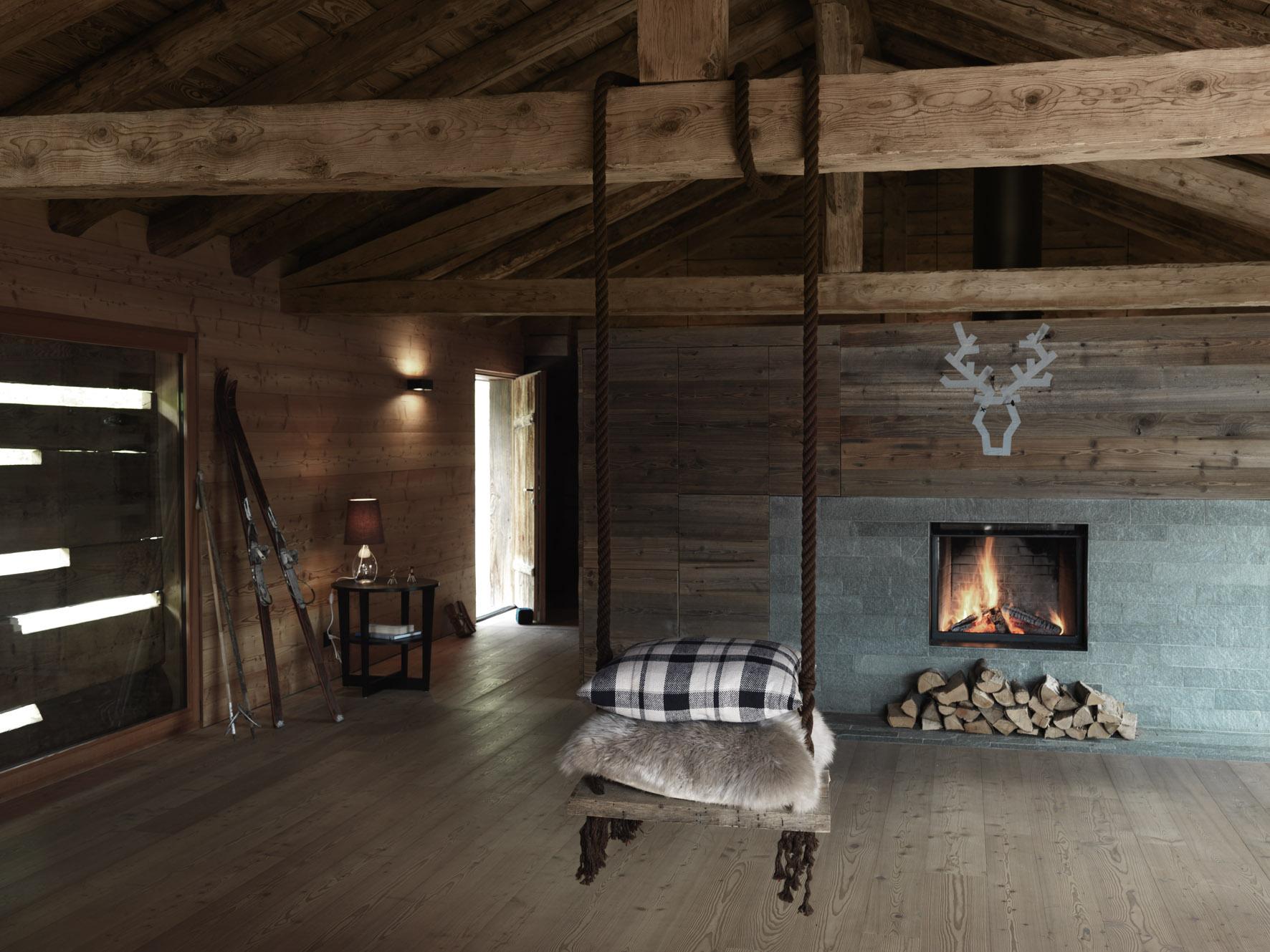 Winter bij ikea rendieren kussens plaids - Houten chalet interieur ...