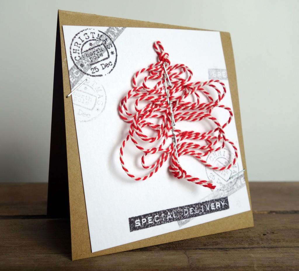 Kerstkaarten maken 2013 touw