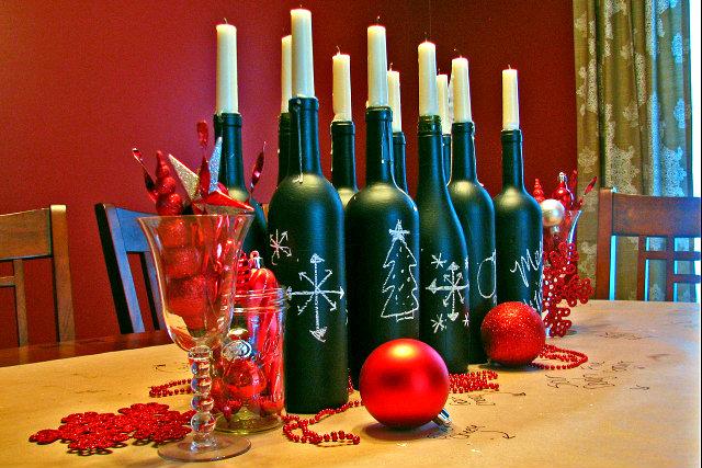 flessen kerst krijtbordverf bewerkt