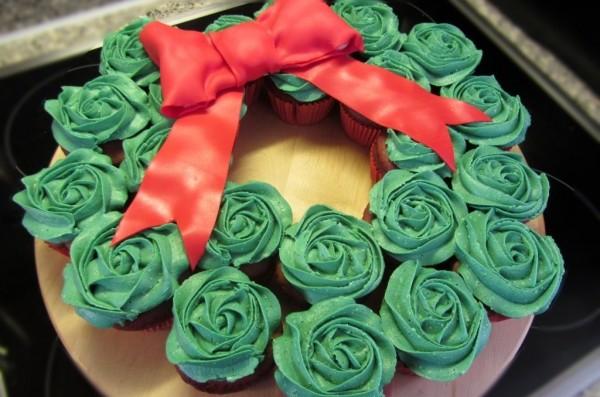 kerstkrans cupcakes