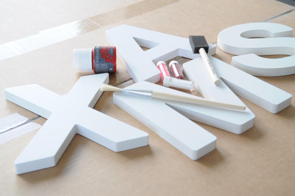 xmas letters verven glitter kerst creatief