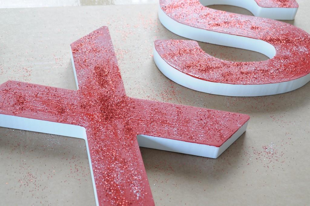 houten letters glitter kerst