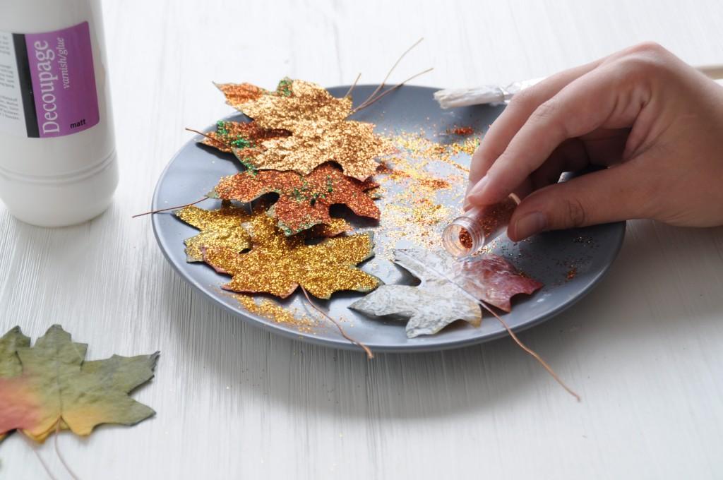 herfstbladeren glitter DIY