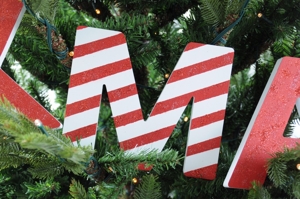 kerst letters candy cane DIY peppermint stick