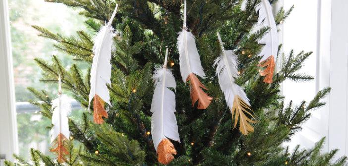 kerst veren dip dye DIY knutselen kerstdecoratie