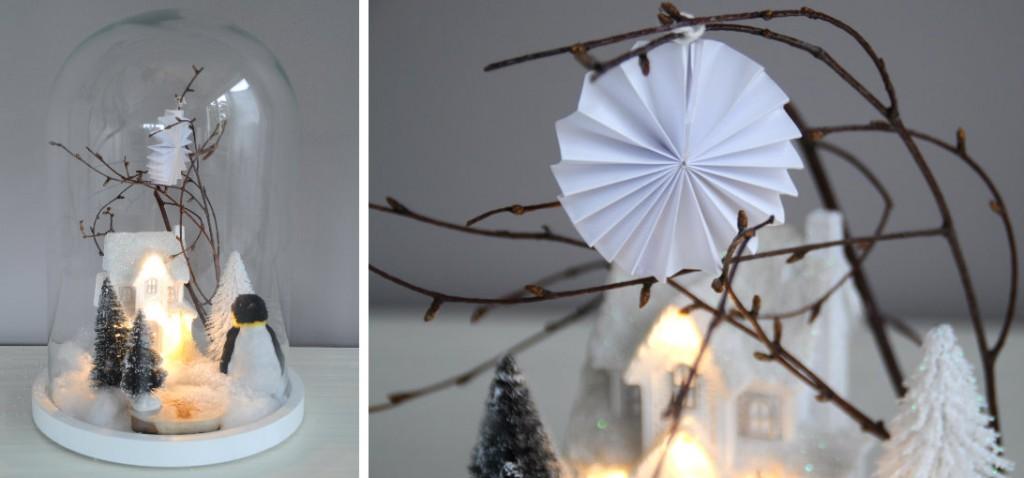 collage glazen stolp kerst versieren