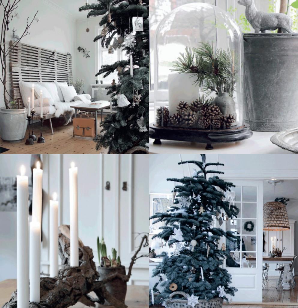 collage kerst deens huis zwart wit scandinavisch