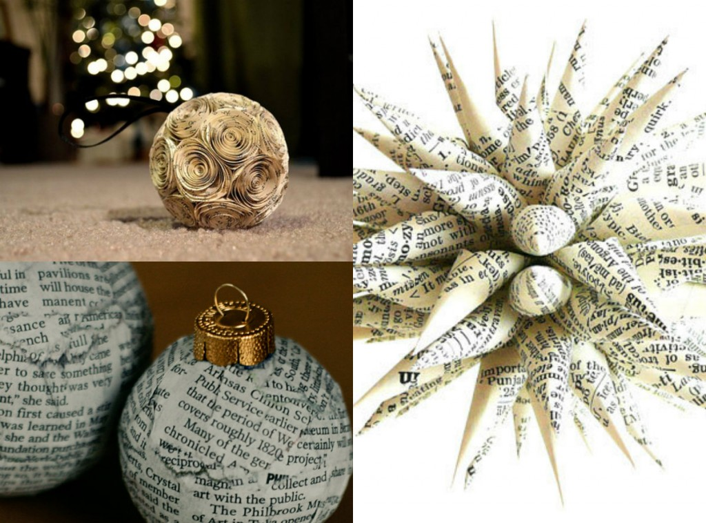 collage newspaper christmas ornaments