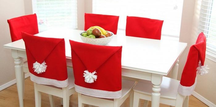DIY-Red-Santa-Hats-Dining-Chair-Covers-Ideas-For-Christmas-2014
