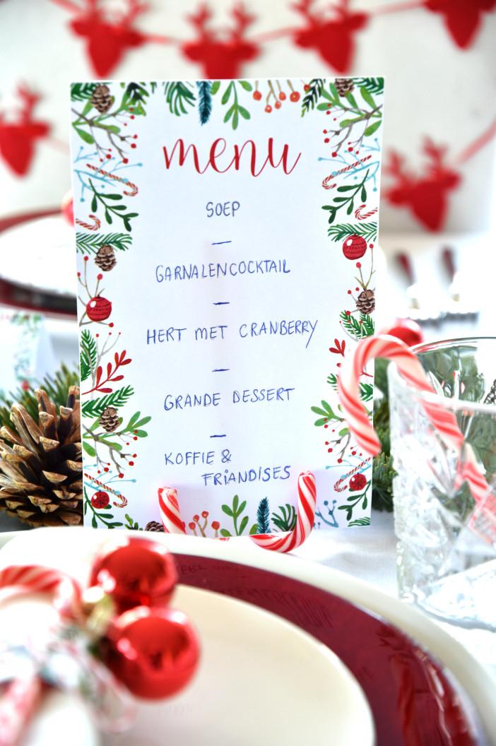 christmas menu candy cane holder