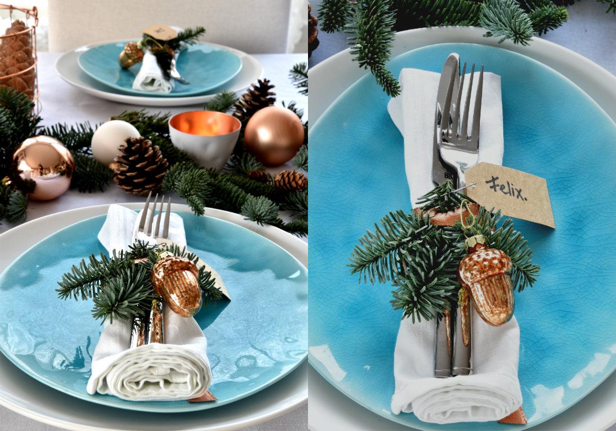 collage blauw bord kersttafel dekken koper