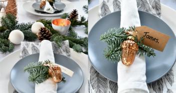 collage grijs bord kersttafel dekken
