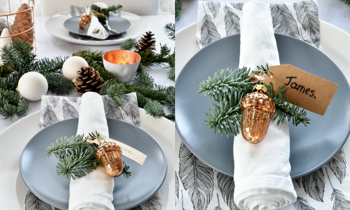 De kersttafel dekken voor het kerstdiner sfeer in wit koper - Decoratie eenvoudig voor het leven ...