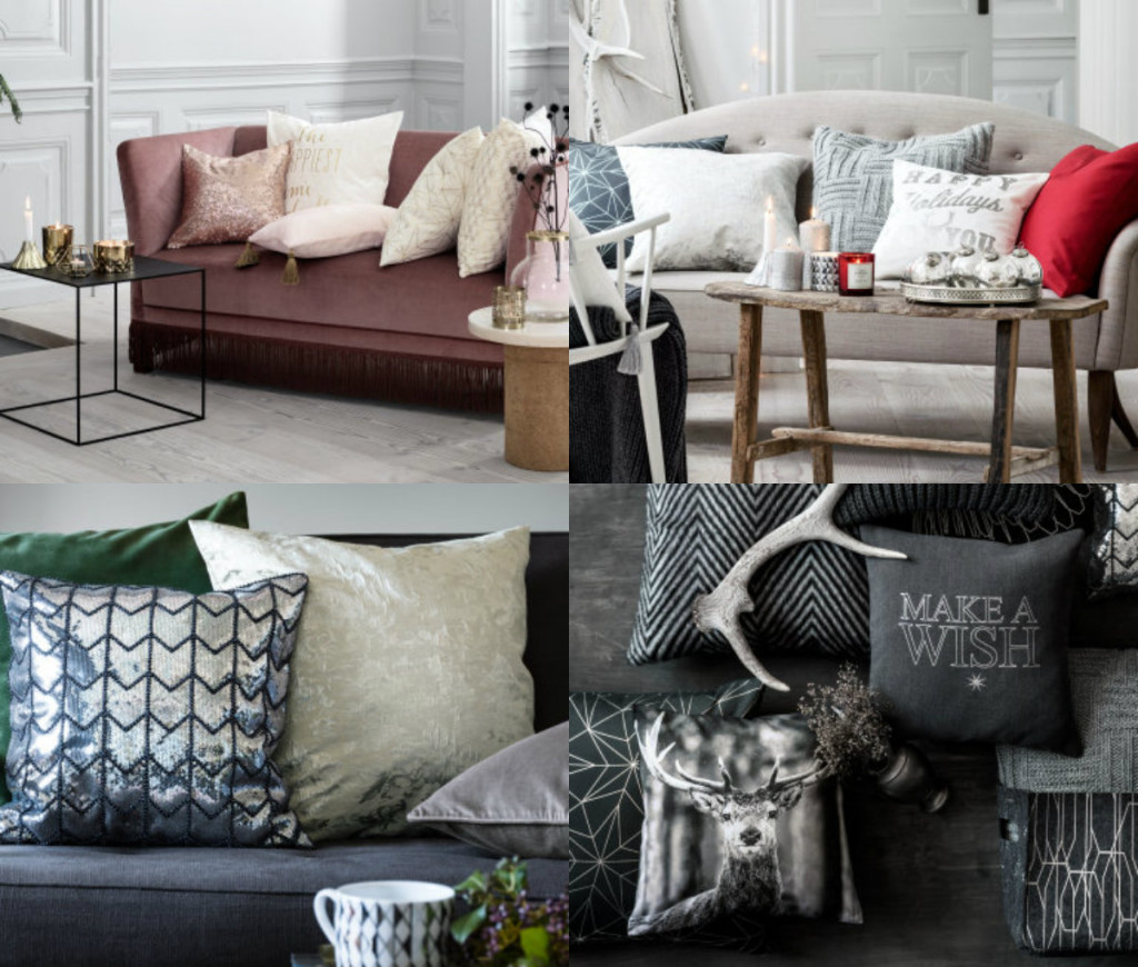 collage kerst kussens h&m home