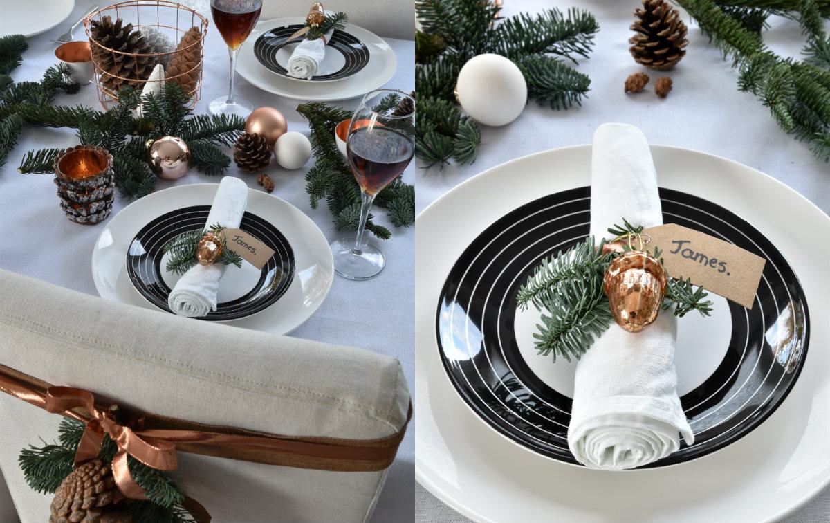 collage tafel dekken voor kerst zwart wit koper