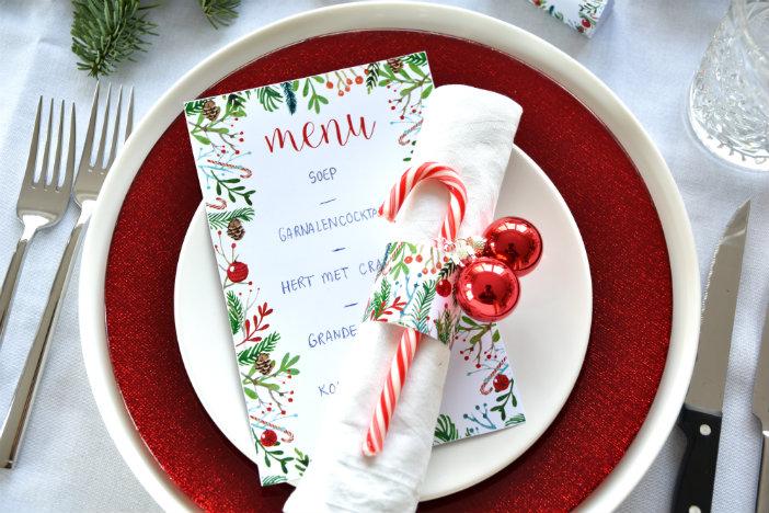 Beroemd Free printables kerst: menukaart, servetringen & naamkaartjes @QF88