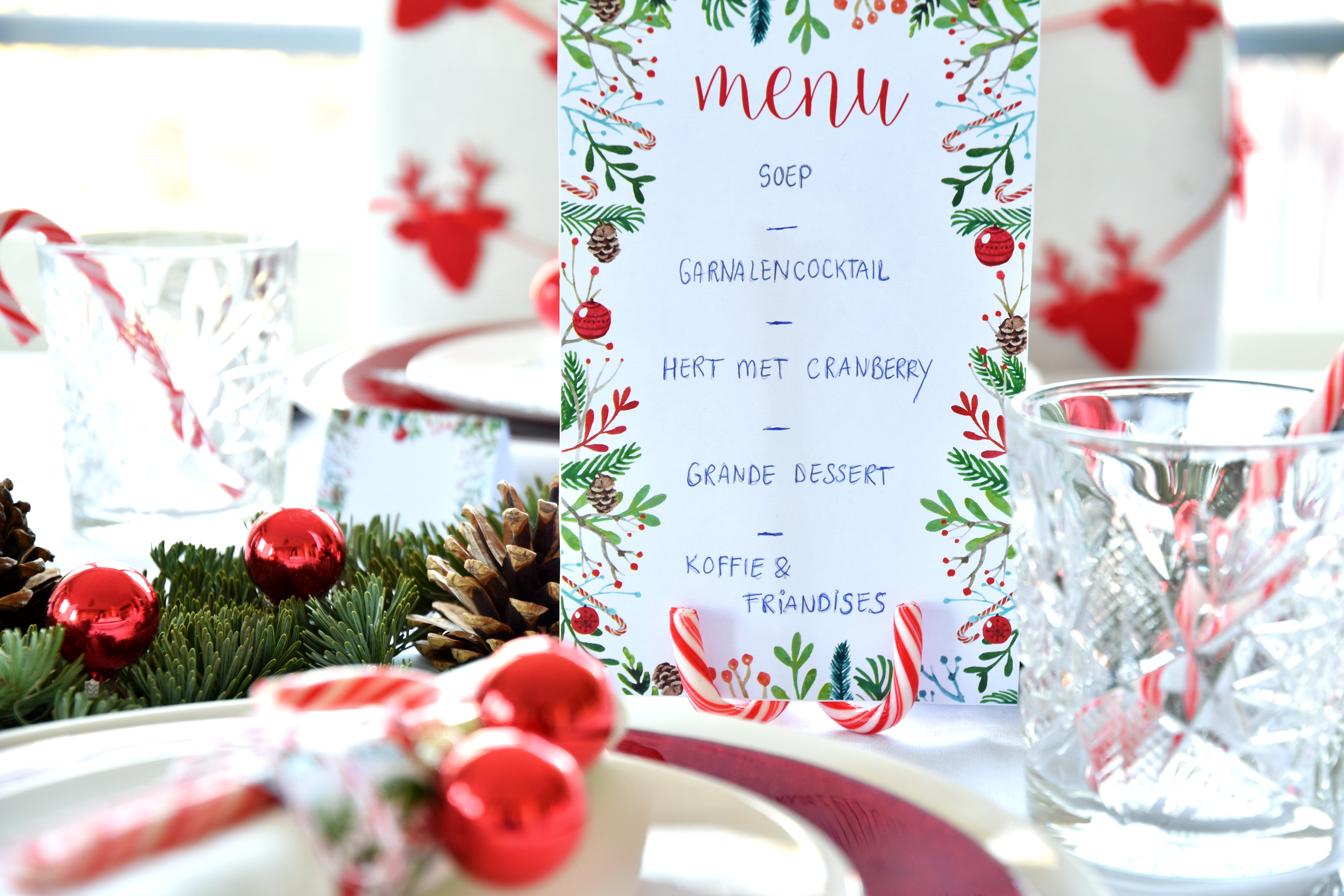 Favoriete Free printables kerst: menukaart, servetringen & naamkaartjes &GS68