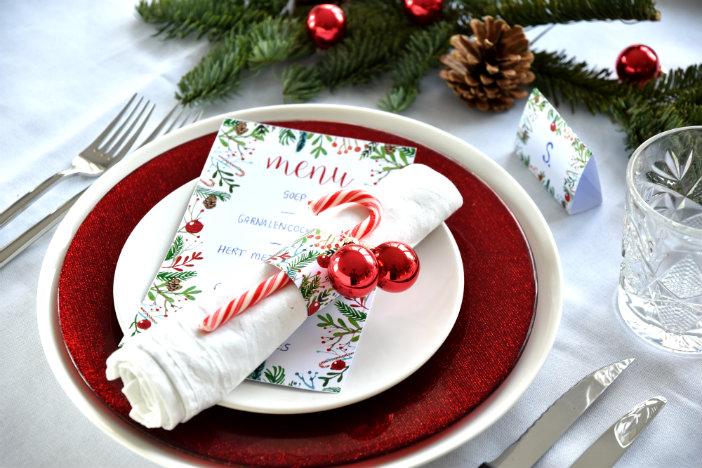 Free printables kerst  menukaart, servetringen  u0026 naamkaartjes