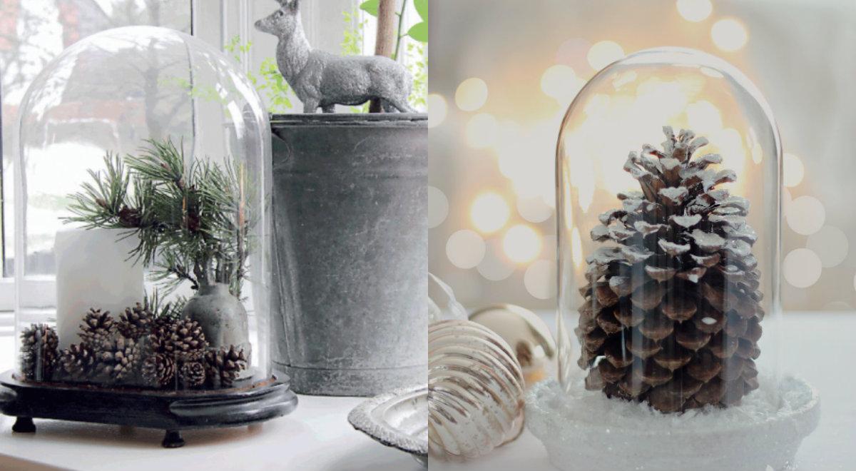10x kerstdecoratie onder een stolp for Kerst ideeen voor in huis