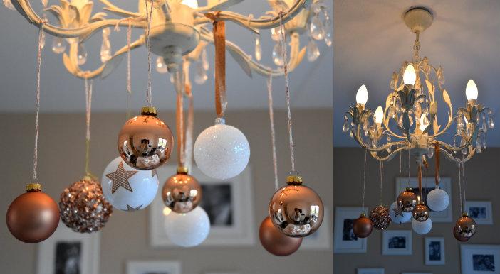 collage kerstdecoratie aan kroonluchter