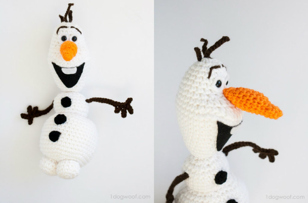 collage olaf sneeuwpop haken frozen