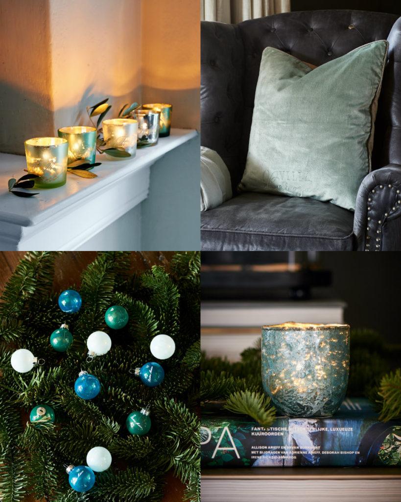 collage votives kussens groen kerst 2016 riviera maison