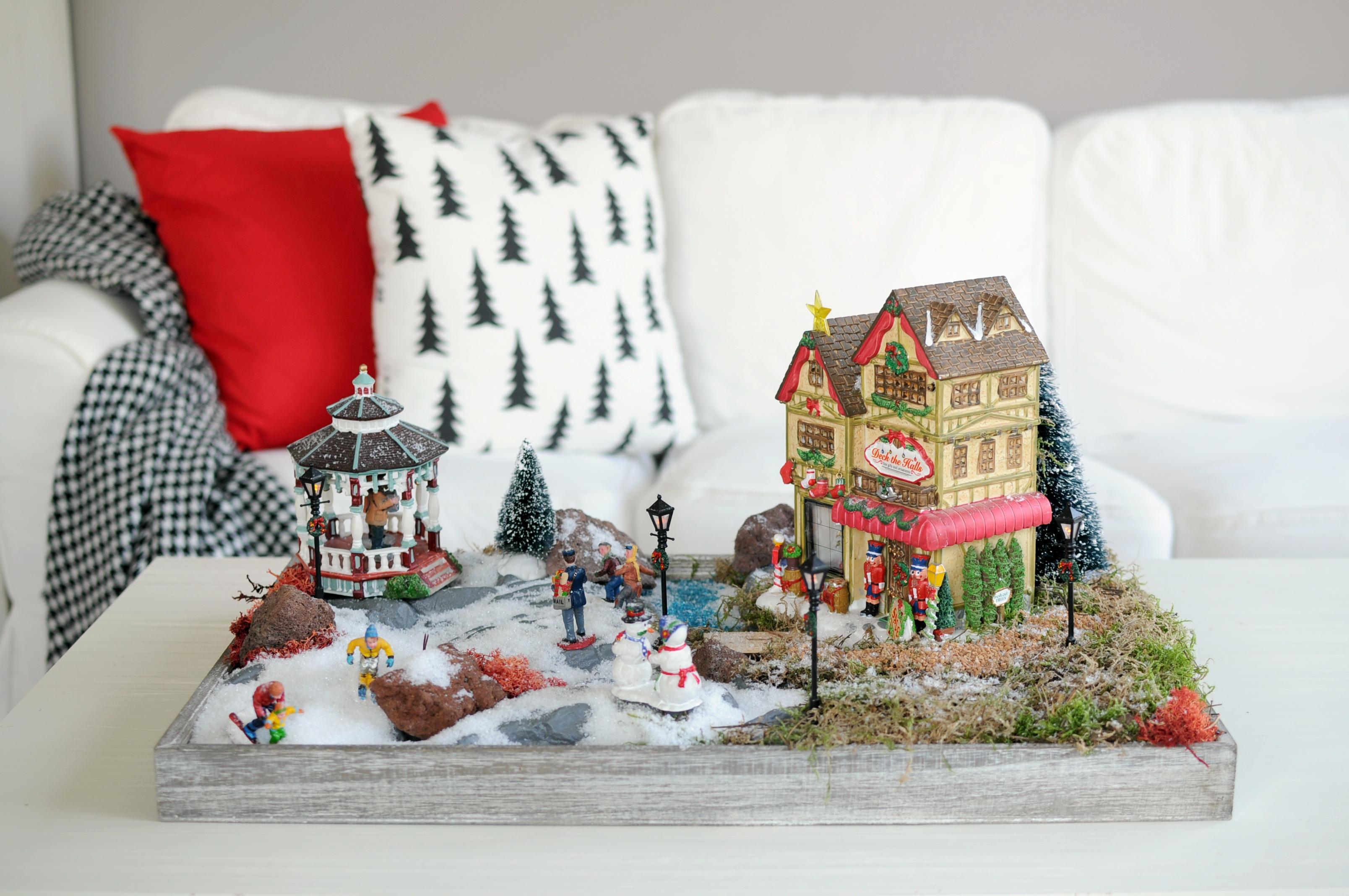 kerstdorpje maken op een dienblad