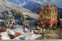 kerstdorp op dienblad