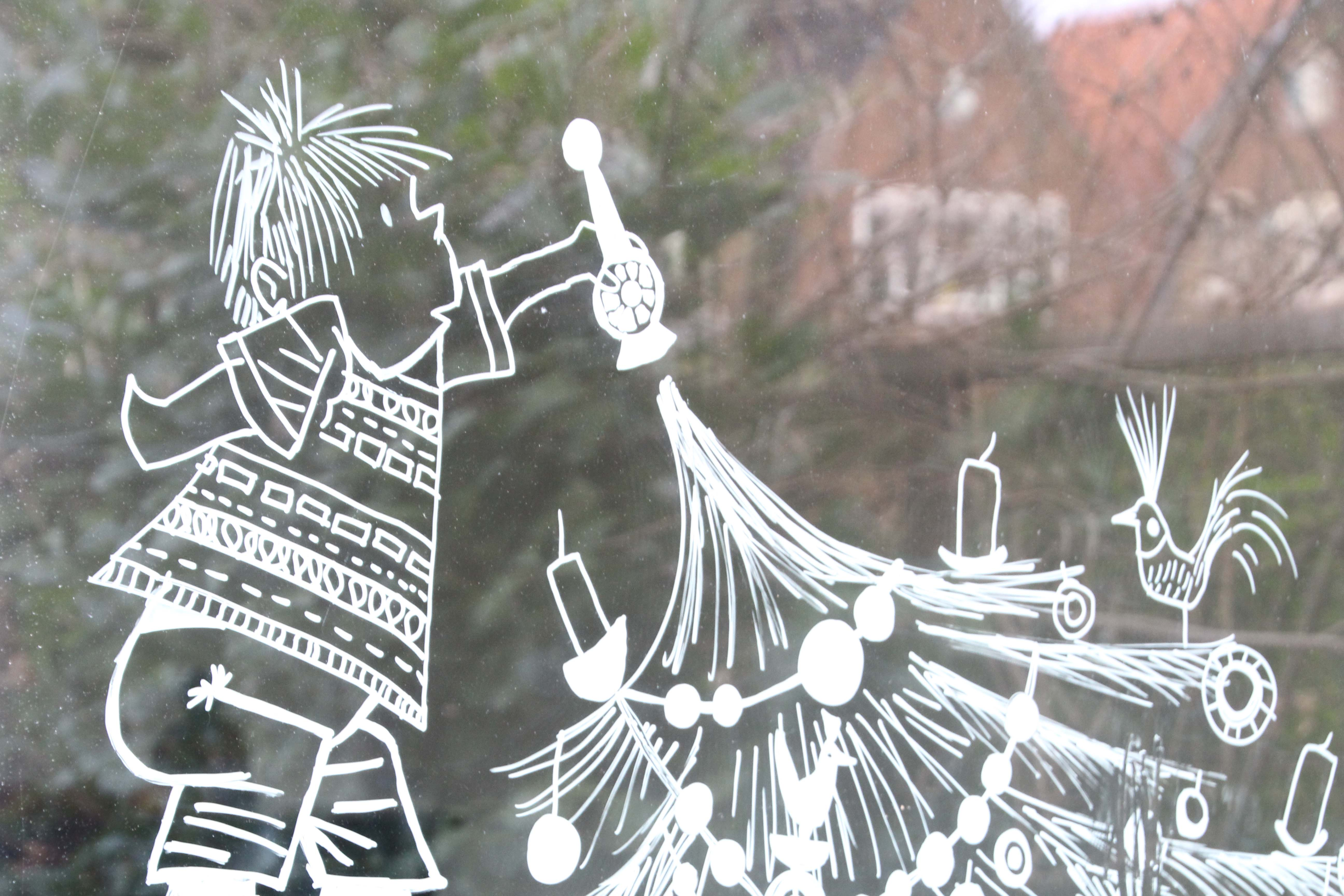 Raamtekeningen Maken Met Krijtstift Voor Kerst