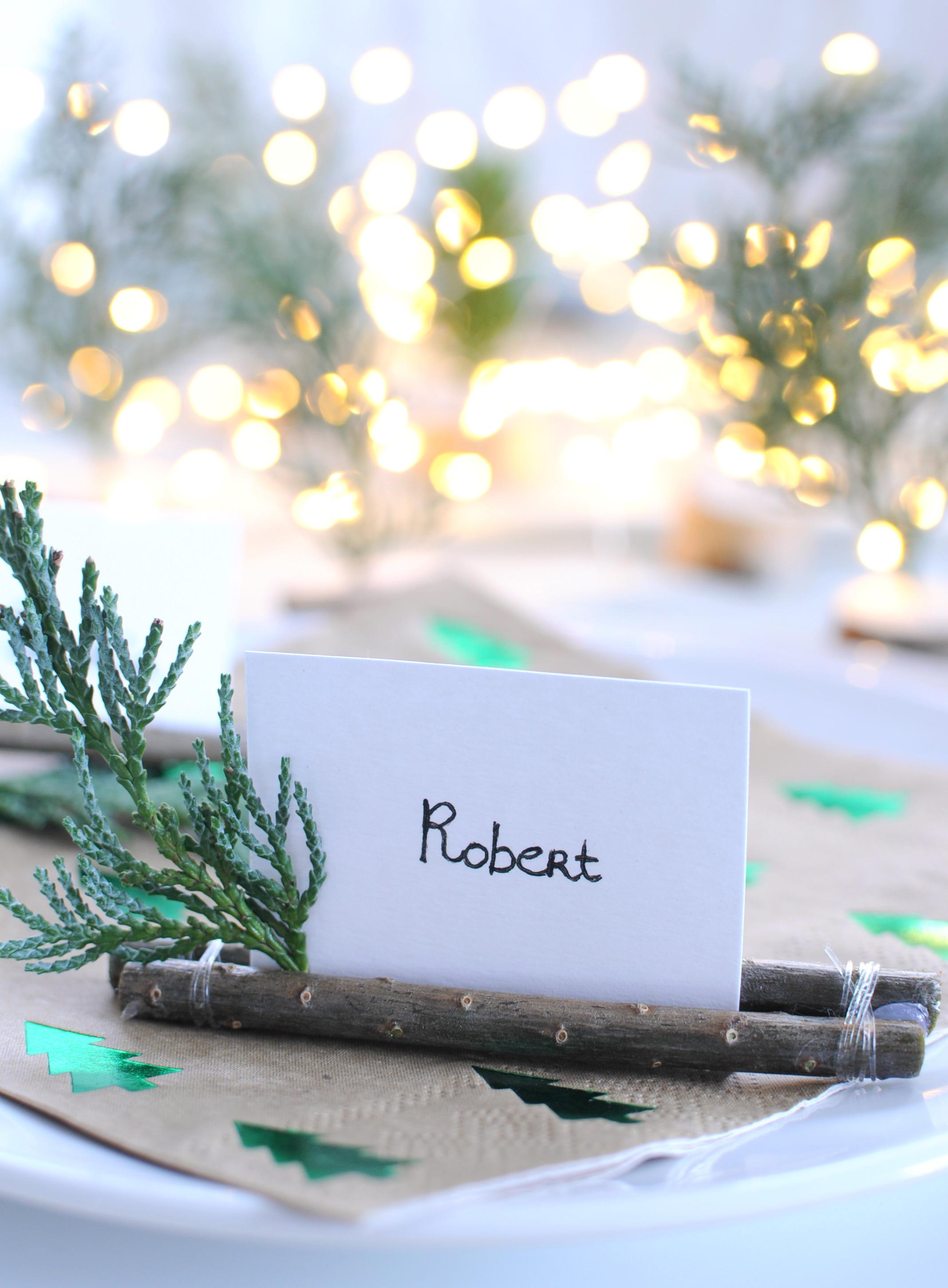 botanische naamkaartjes kerstdiner