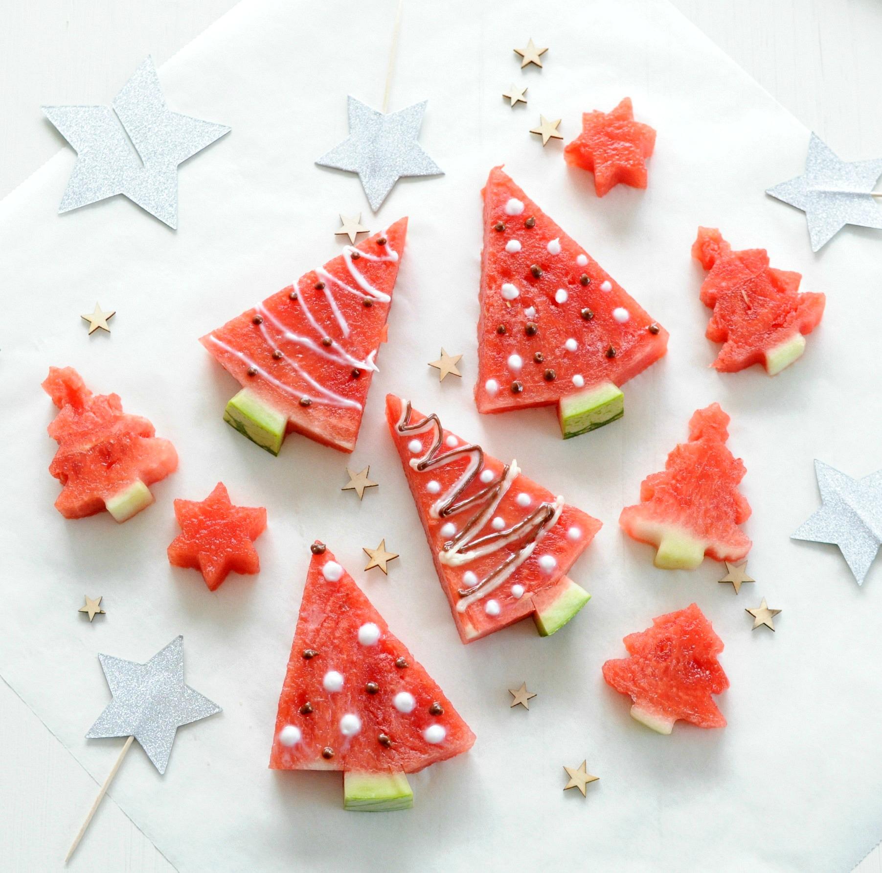 kerstboompjes van watermeloen