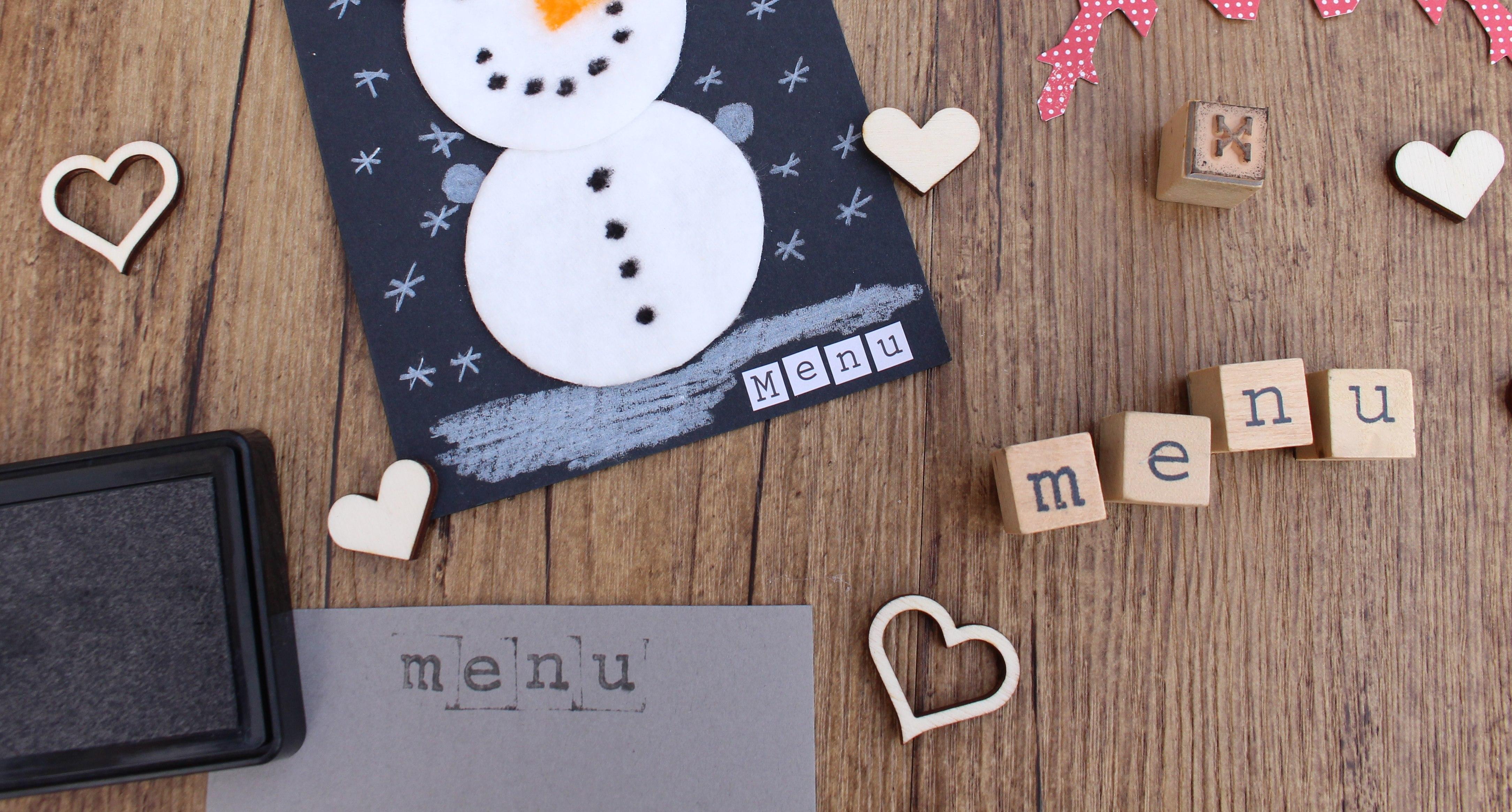 sneeuwpop van wattenschijfjes stempels