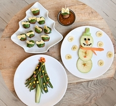 'Trick je kids' met groente & fruit in kerstvormpjes