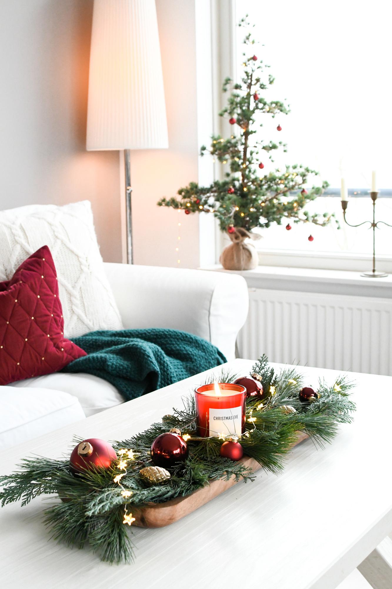 kleine tafel versieren voor kerst